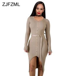 Elástico vestido bandage malha on-line-Zjfzml sexy camisola de malha bandage vestido de inverno para as mulheres de manga longa frente divisão midi dress elegante elástico caixilhos party dress