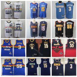 Denver Basketball Nuggets Nikola 15 Jokic Jersey Men Edition City 27 Jamal  Murray 55 Dikembe Mutombo Allen 3 Iverson Blue Red White a204db2c1