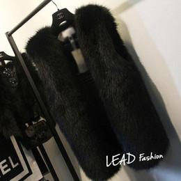 2020 chaleco largo de piel negra Más el tamaño 5XL 6XL Blanco Negro de capa de las mujeres de piel falsa Gilet conejo Mink Fox chaleco de piel de Medio-larga chaqueta con cuello en V de piel Chalecos rebajas chaleco largo de piel negra