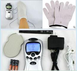 2019 zapatillas de pulso Terapia de fibra de plata eléctrica Decenas Acupuntura máquina digital masajeador pulso electrónico Zapatilla Guante / calcetín + 2 almohadillas de electrodo zapatillas de pulso baratos