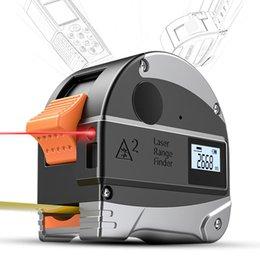 Medidor de regla online-2in1 Portable 30M Láser Digital Rangefinder 5 M Regla de la Cinta Retráctil Meter IP54 Impermeable Precisión Herramientas de Construcción de Infrarrojos