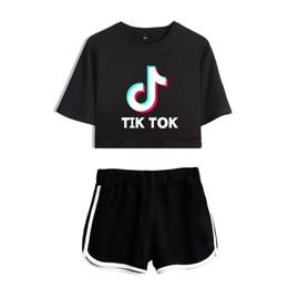 donne verde di pullover dell'esercito Sconti T-shirt con stampa TIK Tok per donna / ragazza T-shirt con logo app per video musicale con pantaloncini T-shirt con maniche corte in cotone per streetwear Hip Hop Streetwear