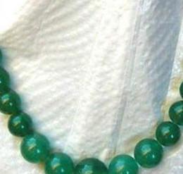 Billige silberne strangperlen online-Halskette preiswerte silberne natürliche Jade Jadeit progressive Perlen Strang Großhandelshalskette / frei