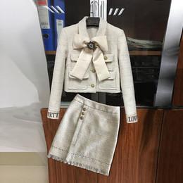Argentina 2019 Invierno Elegante Conjunto de Traje de Tweed Mujeres Arco Botones Abrigo Corto + Cintura Alta Borla Mini Falda de Dos Piezas Conjuntos Mujer Jc2732 Suministro
