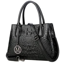 Sacos de crocodilo reais on-line-Bolsas de Couro genuíno para As Mulheres Grande Designer Senhoras Bolsa de Ombro Estilo Balde de Couro Real Bolsas De Grão De Crocodilo