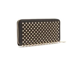 grey patent clutch bag Coupons - Panelled Spiked Clutch Women's Patent Leather Mixed Color Rivets Party Clutches Lady Long Purses with Spikes Men Red Bottom Bag