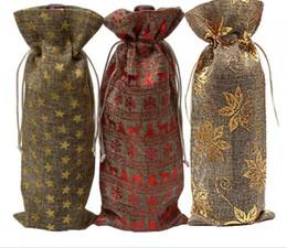 i sacchetti di trasporto di iuta Sconti Festa Champagne Bottle Covers Juta Lino Sacchetti di bottiglia di vino 15x37 cm Matrimoni Vacanze Lino Sacchetti Regalo Pacchetto Vino Borse Spedizione Gratuita