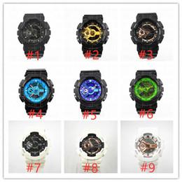 Mix relógios coloridos on-line-5 pçs / lote observação relogio G110 dos homens relógios esportivos, cronógrafo LED relógio de pulso, relógio militar, relógio digital, apoio mix cor ordem dropship