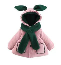 Baby Toddler Girls Winter manga larga de dibujos animados con capucha gruesa cálida capa de algodón niños princesa prendas de abrigo chaqueta recién nacido Parkas desde fabricantes
