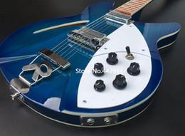 Chitarra corporea chitarra corporea online-RIC 330 360 12 corde Trans Blue Semi Hollow Body Chitarra elettrica Lucidatura tastiera, Tostapane, due uscite, doppio corpo rilegatura