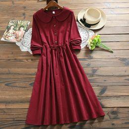Japan Mori Girl Corduroy Dress 2018 New Autumn Winter Women Doll Collar  Long Sleeve Long Cotton Dresses Bordeaux Red 555dc22aa