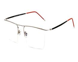 Очки для деловых мужчин онлайн-MONGOTEN Business Men Fashion Half Rim Alloy Ultralight Clear Lens Optical Eyeglasses Frame Silver Gold Myopia Eyewear Frame