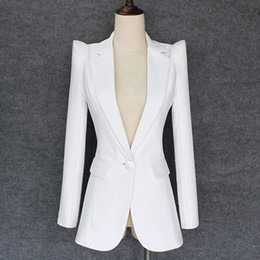weiße knöpfe einheitlich Rabatt TOP QUALITY 2018 Neue stilvolle Designer Blazer Damen Achselzucken Schulter Single Button White Blazer Jacke