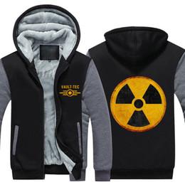 hommes femmes vidéos Promotion Hoodies d'hiver Gaming Video Fallout Radiation Nucléaire Vault-Tec Hommes Femmes Chaud Automne Vêtements Pulls Molletonnés Zipper Veste Polaire À Capuche