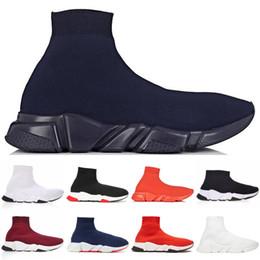 Balenciaga 2019 New arrivlas Paris Speed Trainer off Rojo Triple Negro Plano Original Diseñador de lujo Para mujer Zapatillas de deporte Negro Blanco Zapatos ocasionales desde fabricantes