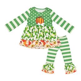 Vestido estilo pantalón niña online-Estilo de Halloween Calabaza del bordado para niños de los bebés ropa tapas de la camiseta + pantalones largos del niño de la técnica niñas establecen caída Boutique Ropa de vestir