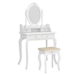 2019 affiche de vêtements de fer Commode moderne à miroir à 4 tiroirs et à rotation pivotante, 360 °, blanc
