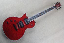 Chitarra sinistra online-Top Quality EMG Pickup Left Hand LTD DELUXE NJ-1000 Chitarra elettrica rossa con chitarra pickup attiva
