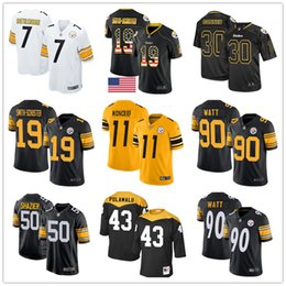 Maillot troy en Ligne-Pittsburgh Steelers Troy Polamalu sur mesure chandails Jerome Bettis Ben Roethlisberger JuJu Smith-Schuster Ryan Shazier T.J. Watt James Conner