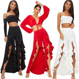 b0cceb5841c 2019 Fashion Women OL Empire Wide Leg Pants Trousers Bottoms Layered  Ruffles Flared Pants Capris Formal Business Summer Women Clothes
