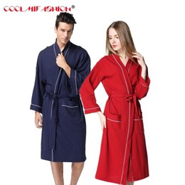 417ff6333e sexy couple sleepwear 2019 - CooLMiFashion Brand Lovers Robe Man Women Long  Sleeve Pockets Patchwork Sleepwear