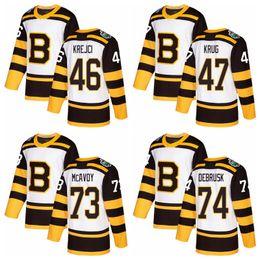 camisas de boston Desconto 2019 Inverno Clássico Boston Bruins Hóquei Jerseys Mens 46 David Krejci 47 Torey Krug 73 Charlie McAvoy 74 Jake DeBrusk Costurado Camisas