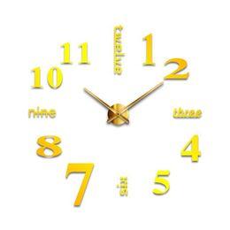 Sala de arte relojes de pared online-Reloj de pared 3D Espejo pegatinas de pared extraíble de 4 colores autoadhesivo arte de la etiqueta relojes de pared Decoración Sala de cuarzo aguja