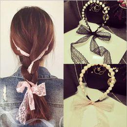 senhoras pérola ornamentos Desconto DHL 1000 pcs Elegante Cristal Pérola Fita Longa Hairbands Enfeite de Cabelo Senhora Headbands Meninas Headwear Acessórios Para o Cabelo