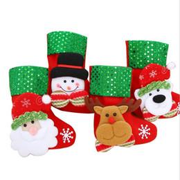 ems decor Sconti Calza di Natale Calzini di paillette Regali Sacchi Sacchetti di caramelle Calze di cartone Decorazioni per l'albero di Natale Babbo natale Pupazzo di neve Orso cervo EMS FJ414