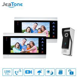 2020 video portero JeaTone 7 pulgadas por cable Video de la puerta Teléfono Intercom Tecla táctil Monitor Altavoz Intercom Control remoto Desbloqueo Impermeable IR Visión nocturna rebajas video portero
