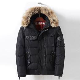 Cappuccio mens down jacket online-Nuovo Mens inverno parka con cappuccio di pelliccia caldo inverno Giacche da uomo cerniera di spessore lungo piumino imbottito Cappotto Uomo Gioventù caldo di vendita Giacche