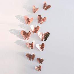 Nevera a color online-12 Color 12 unids / bolsa Nuevo 3D Hueco Mariposa Pegatinas de Pared Fiesta de Nevera Boda Bebé Habitación Decoración DIY Decoraciones Para El Hogar B