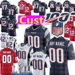 Yeni Özel Patriots Jersey 28 James White 26 Michel 33 Lewis 18 Slater 46 Develin 32 McCourty Butler Futbol Formalar nereden