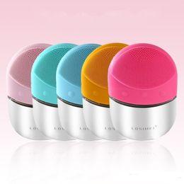 Электрический моющее средство для лица вибрировать поры чистой Силиконовой чистки кисти массажер лица вибрации уход за кожей спа массажер 5 цветов от