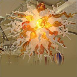 Luces de techo de vidrio soplado a mano online-Big Sale Art Designer Multicolor LED 100% Hand Blown Glass Pendant Chandeliers Art Design Frosted Hand Blown Murano Glass Ceiling Lights
