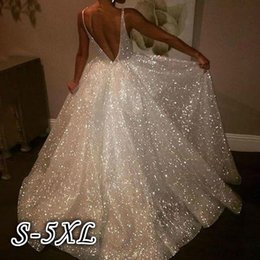 Свадебные платья для тонких женщин онлайн-Party Evening Dress Women White Wedding Dress Deep V-Neck Spaghetti Strap Backless Dresses Thin Sexy Sleeveless Long Dresses