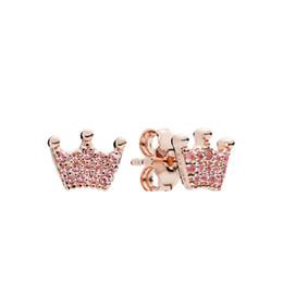 Moda de Luxo das mulheres 18 K Rose Gold Crown Brincos caixa Original para Pandora 925 Prata coroa Mágica CZ Do Parafuso Prisioneiro Brinco Presente Da Menina Jóias cheap magic jewelry 18k de Fornecedores de jóias mágicas 18k