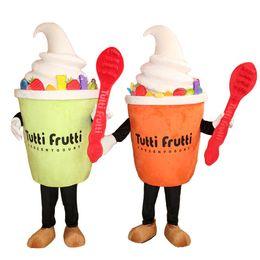 Eiscreme-maskottchen online-Lustiges Eiscreme-Joghurt-Maskottchen-Kostüm-Karnevals-Festival-Partei-Kleid-Handelswerbung-Kostüm für Erwachsenen