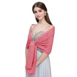 chiffon neckerchiefs Coupons - Women's Chiffon Silk Scarfs Solid Fashion Shawl Sunscreen Wild Wrap Beach Neckerchief Cheap Long Sciarpe Scarves CPA1939