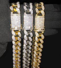 2020 silberne dreifachkettenhalskette 20mm 16-32 Zoll Iced Out voller Bling CZ Triple Lock Hip Hop kubanische Gliederkette Halskette für Männer Frauen günstig silberne dreifachkettenhalskette