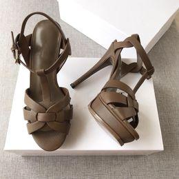 2019 zapatos de color desnudo de punta abierta Nuevos zapatos de verano Mujer Tributo Sandalias T-correa Súper alta Platfom Sandalias Diseñador Diapositivas Mujer Sandalias Zapatos clásicos de fiesta