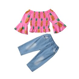 a0a2503b5440 Fashion Girls Kids Clothing Sets Children Pineapple Print Off Shoulder T- shirt Denim Pants Kids Girls Clothes Toddler Outfits discount off shoulder  shirt ...