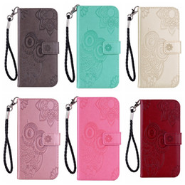 cute owl wallets Promo Codes - Leather Wallet Case For LG G7 K7 V40 Stylo 4 K10 2018 Samsung M10 M20 M30 J3 J7 2018 Imprint Owl Flower Lace Cute Flip Cover Night Bird