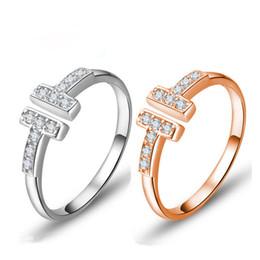 quilate diamante 18k Rebajas Marca conocida caliente 925 con incrustaciones de plata 3A circón doble T anillo ajustable moda europea chapado 18 K oro joyería del anillo de bodas de la mujer