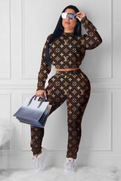 Medias marrones online-Mujeres Set de 2 unidades de impresión de Carta medio cuello alto de manga larga Tops cortos Pantalones ajustados traje traje chándal señora atractiva Deportes Brown
