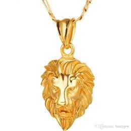 gran collar vintage de oro Rebajas Hip Hop Jewelry Gold Big Lion Head Colgante grueso Collar Animal King Vintage Gold Hiphop Chain para mujeres hombres Bellamente joyería
