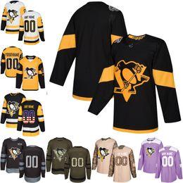Canada 2018 Custom Mens Femmes Jeunesse Penguins De Pittsburgh Crosby N'importe quel Nom N'importe quel Numéro Jersey De Hockey Sur Glace, Authentique Jersey Broderie Logos taille S-3XL cheap pittsburgh embroidery Offre