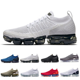 Zapatillas deportivas baratas negras para hombre online-Air Max Vapormax  2.0 VM shoes Vast Grey Running Shoes Cushion White Black Chrome Hot Punch Chrome Gym Blue Team Red Outdoor Women Mens Sports Sneakers 36-45