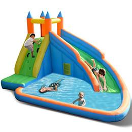 Scivoli d'acqua gonfiabili in piscina online-Scivolo gonfiabile del parco acquatico della casa di rimbalzo, parete rampicante dello scivolo 5 in 1, area di salto, biliardo, cerchio di pallacanestro