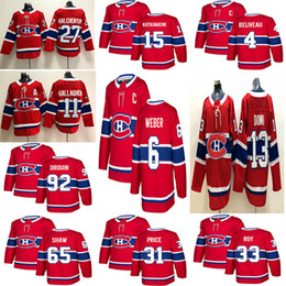 e5403976a7e 2018 New Montréal Canadiens 6 Shea Weber 31 Carey Price 11 Brendan  Gallagher 13 Max Domi Stitched Red and White Ice Hockey Jerseys